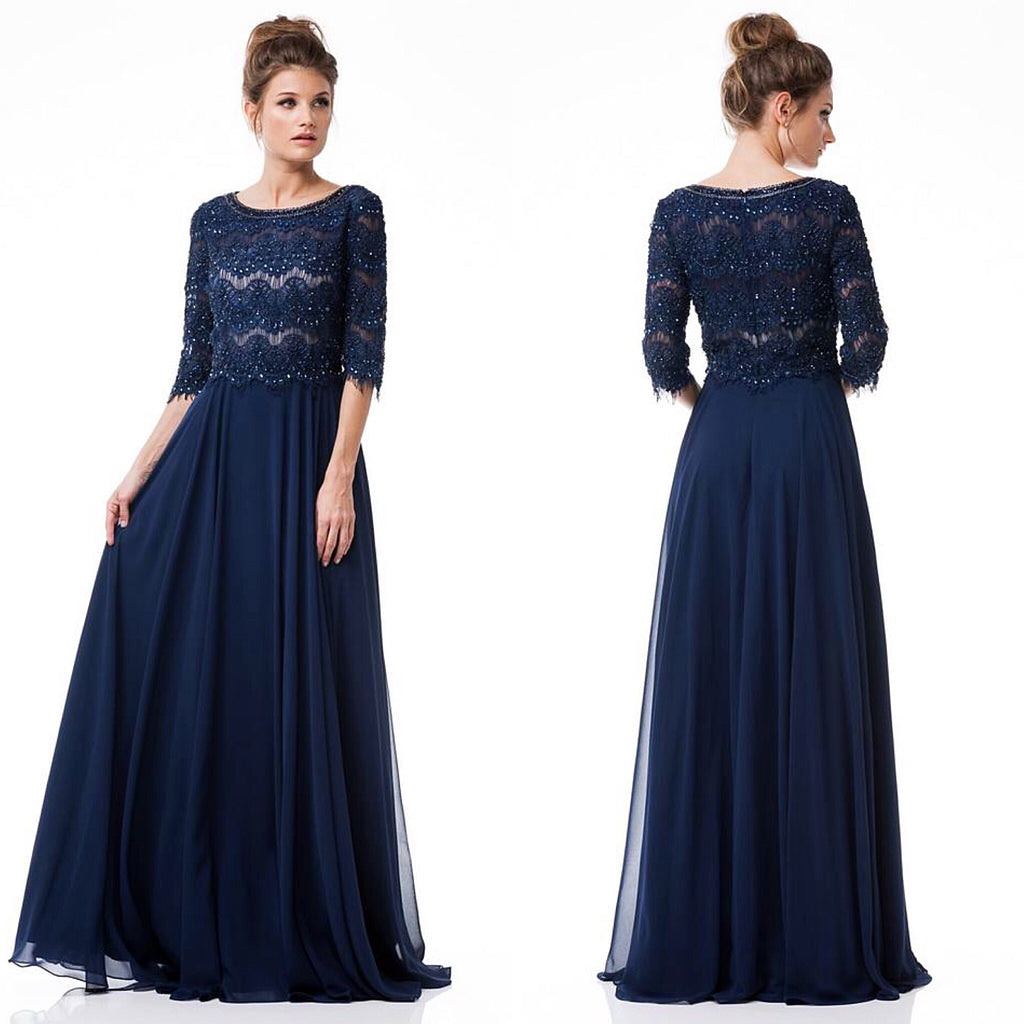 Navy mother of the groom gown