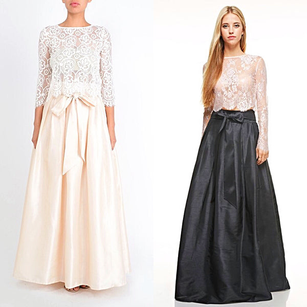 Floor Length Chic Bow Long Taffeta Bridal inspiration Maxi Skirt Beige and Black