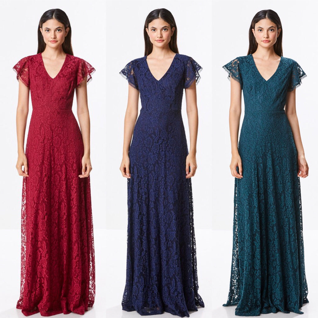 Affordable floor length lace fall a line bridesmaid dress in 3 affordable floor length lace fall a line bridesmaid dress in 3 colors evening gown ombrellifo Gallery