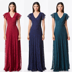 Affordable Floor Length Lace Fall A-line Bridesmaid Dress in 3 colors evening gown