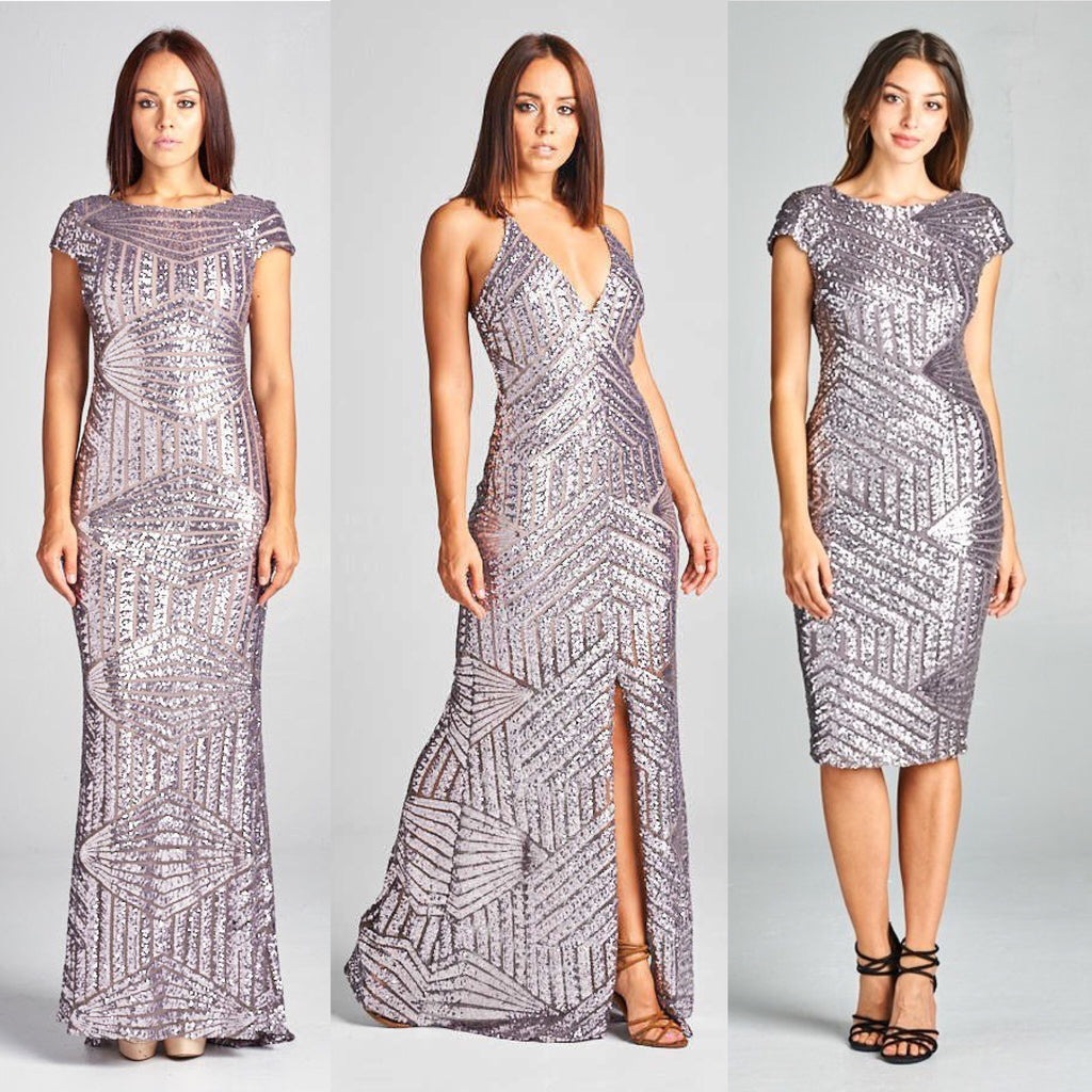 9be932b5326 Pewter Geometrical Sequin Maxi Cocktail style Long and Short ...