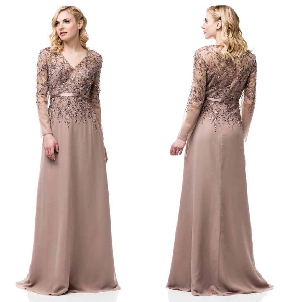Mother Of The Groom Gowns: Floor Length Lon Sleeves V Neck A-Line Mother Of The Bride