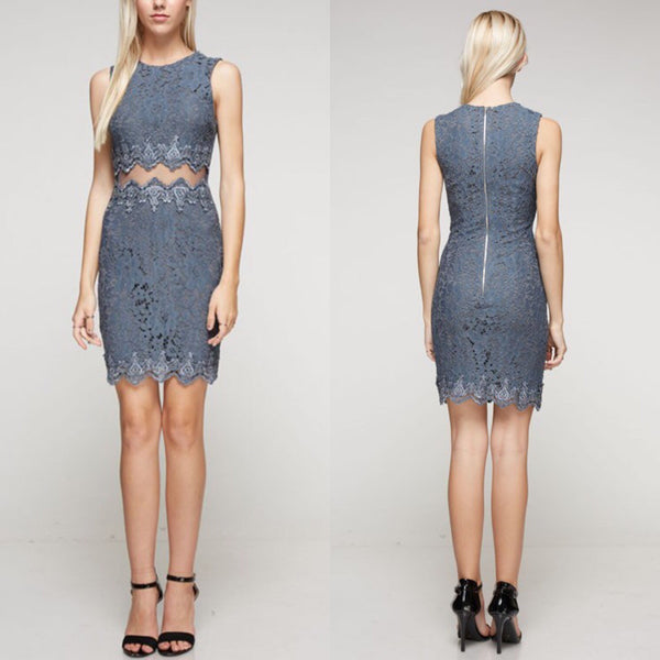 Wedding Guest Front Lace detail Cocktail Dress in Charcoal Gray