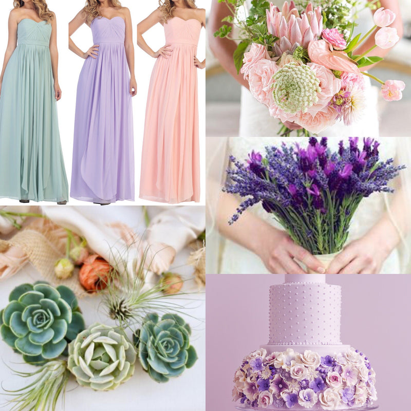 Sage, Lavender, Blush Long Bridesmaid Dresses