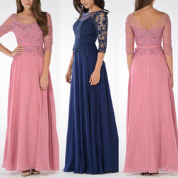 Long chiffon evening gown