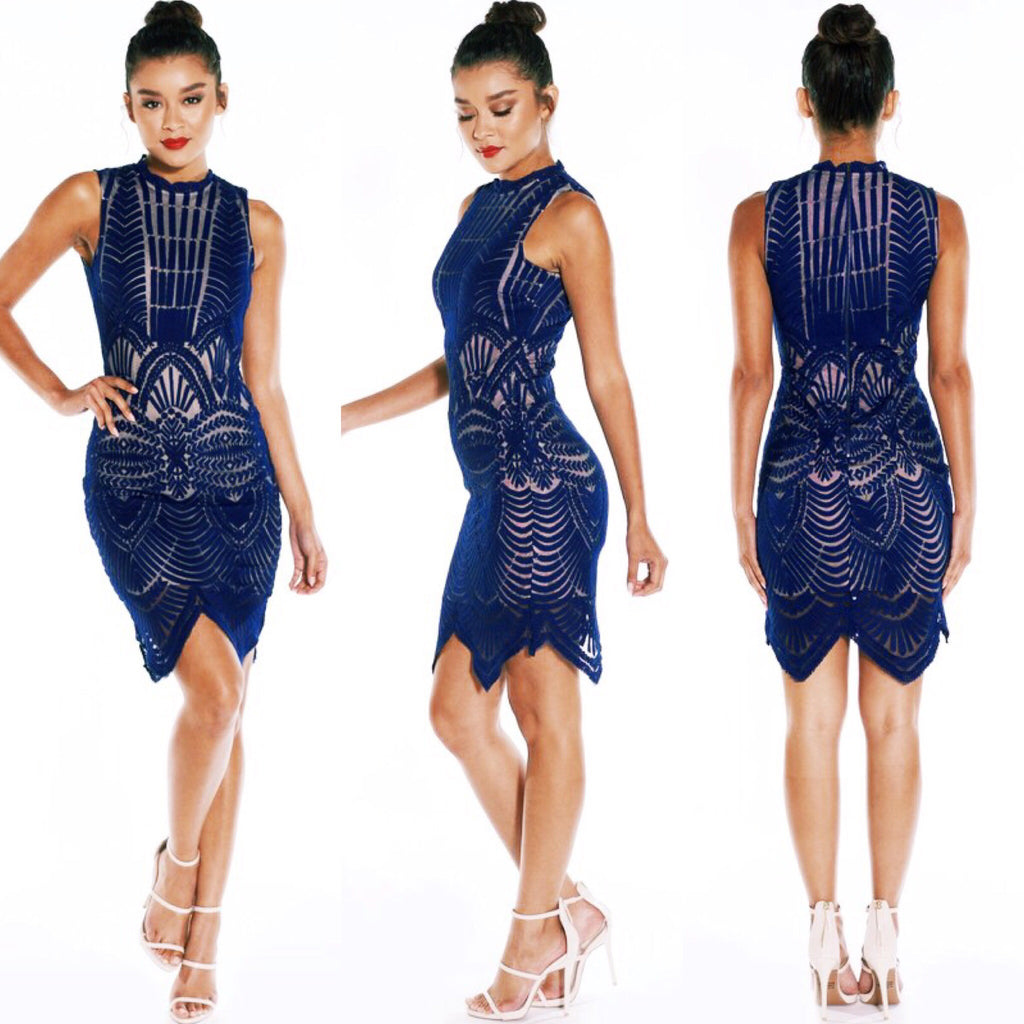 Contrast Navy Midi Rehearsal Dinner Wedding Guest Formal Bridal