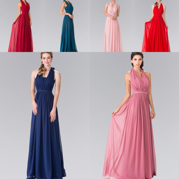 Affordable Chiffon Halter Prom Dress long evening gown prom dress XS - 3XL