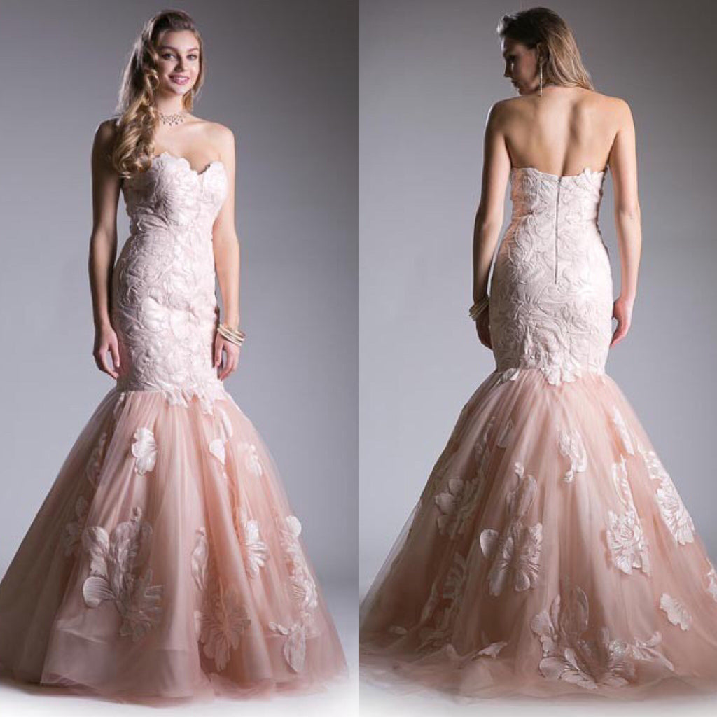 cb4e7d564259 Jovani style Strapless Tulle Mermaid Prom Dress in Blush and Black ...