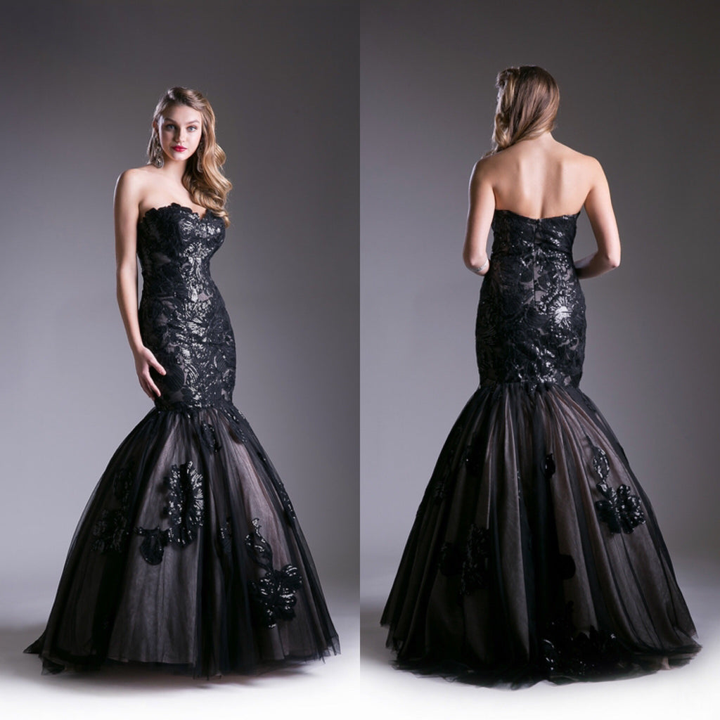 997e7626f091 Jovani style Strapless Tulle Mermaid Prom Dress in Blush and Black Wedding  gown