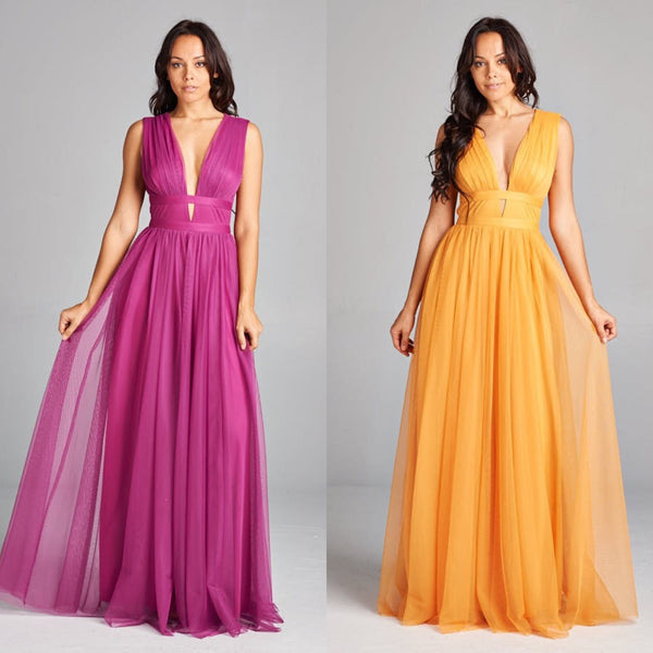 Long Maxi Gold Dress