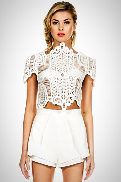 Unique Designer Runway Celebrity Baroque Cut Out Crop Top Inspired by Riki Dalal