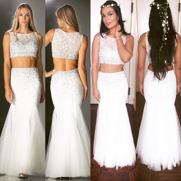 Beaded 2 Piece Blush Prom Dress Off White Mermaid Long Gown Crop Top 4 - 10