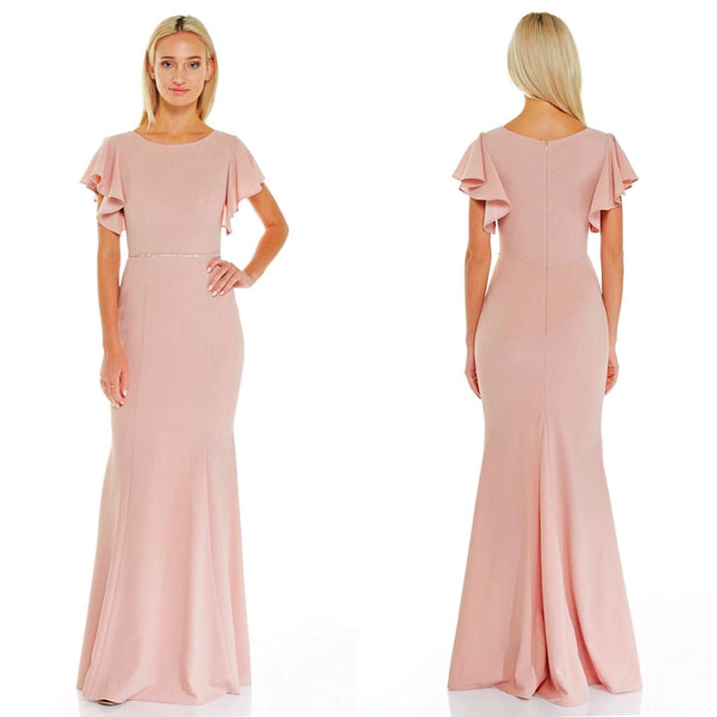 Affordable ruffle sleeves long bridesmaid dress in blush frugal mughal blush bridesmaid dress ombrellifo Image collections