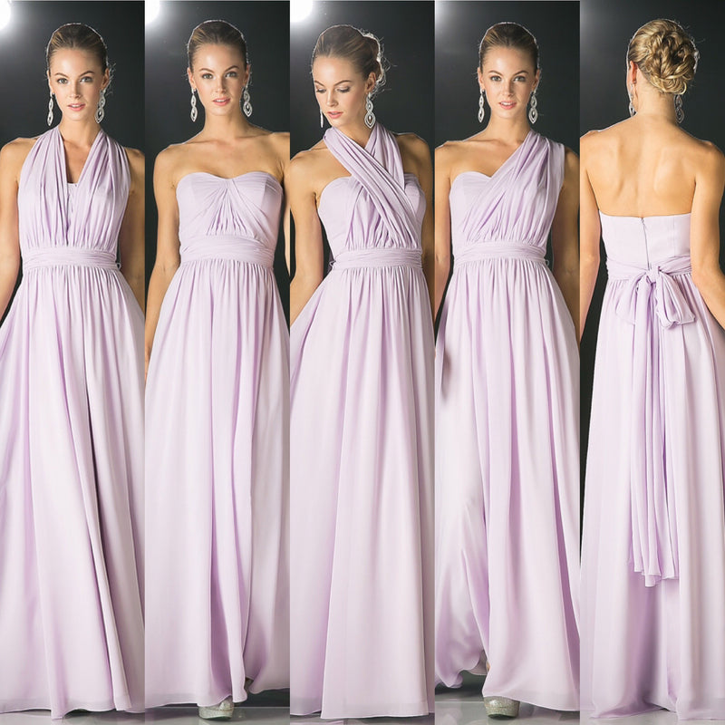 Affordable Versatile Floor Length Convertible Bridesmaid Dress 7 colors XS - 3XL