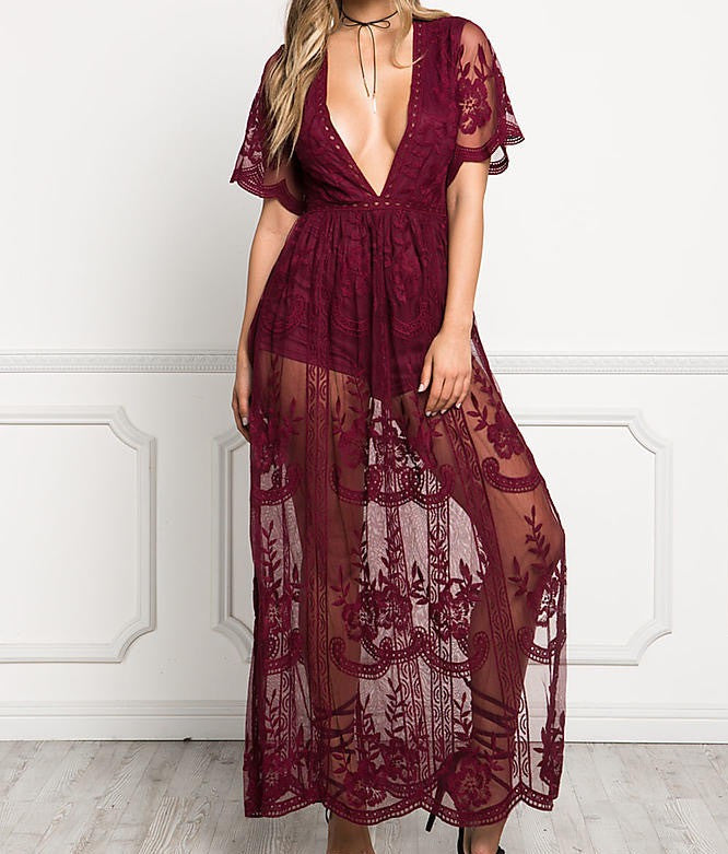 Lace Romper Maxi dress