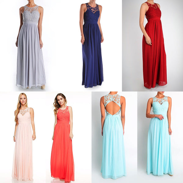 "Affordable Floor Length chiffon ""Rainbow"" Bridesmaid Dress in 10 Colors"