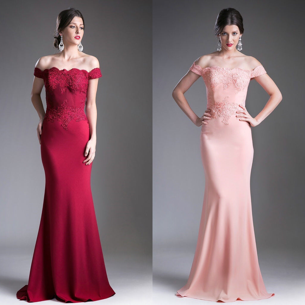 5f4760f8bf863 Picture Perfect Peach & Burgundy off shoulder Mermaid Bridesmaid ...