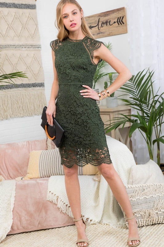 olive crochet lace dress
