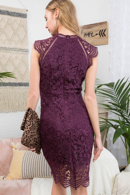 Wedding guest Mock Neck Lace Crochet Mini Raglan Sheath Dress