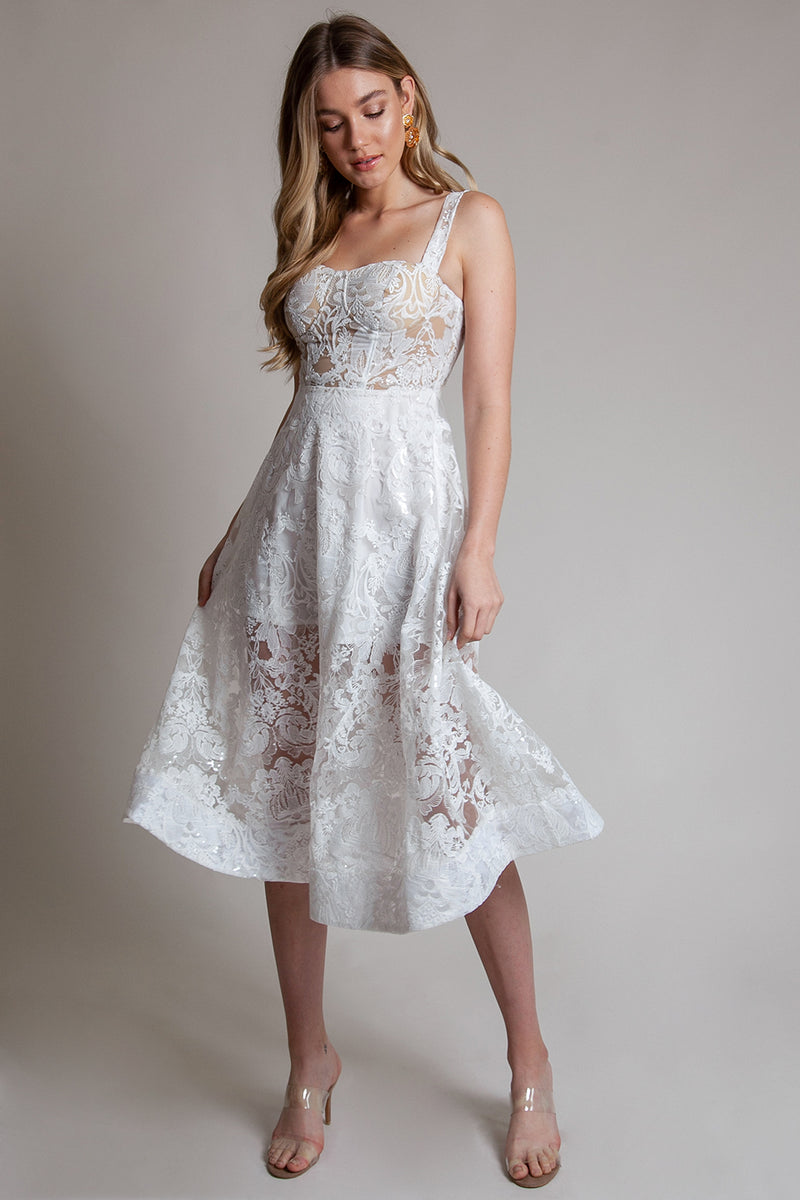 Tea Length Ivory fit and flare Lace Bridal Spring Shower Dress