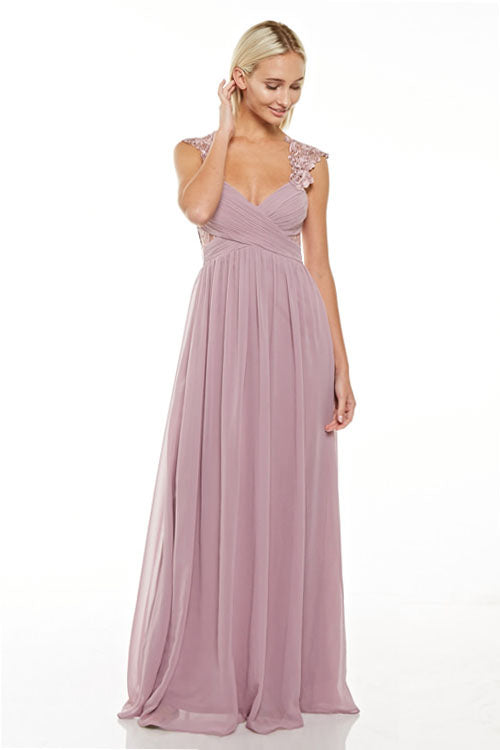 Medusa Empire Waist Chiffon Floor Length Evening Gown Bridesmaid ...