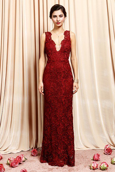 Lace Burgundy Bridesmaid Dress
