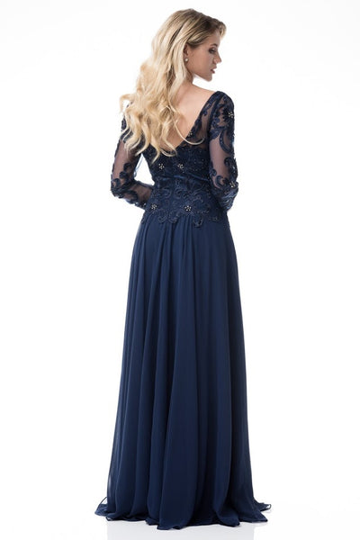 Floor Length Long Sleeves Chiffon Navy Mother Of The Bride