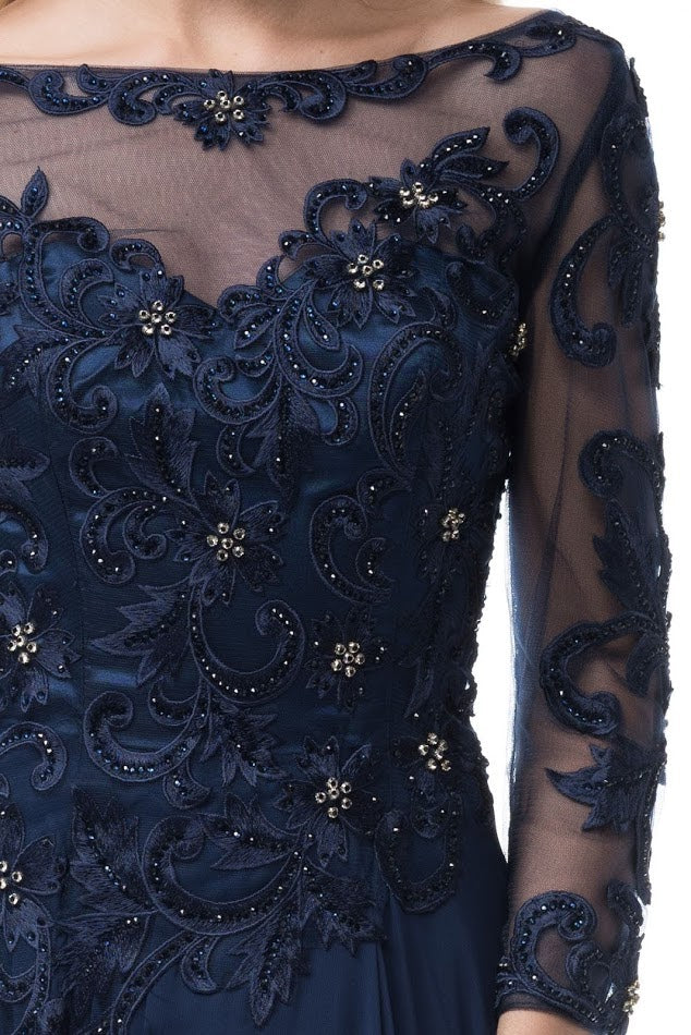 Long Sleeves Navy Evening Gown