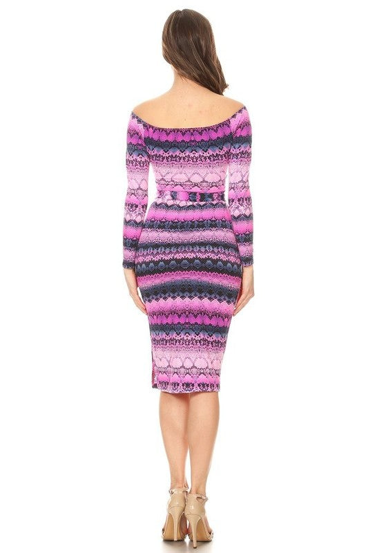 Neon vibes python wild print long sleeves fitted bodycon dress