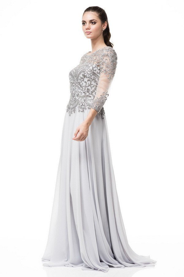 a2cea61545 A- line Silver embroidered 3 4 sleeves mother of the bride dress or groom  chiffon long gown