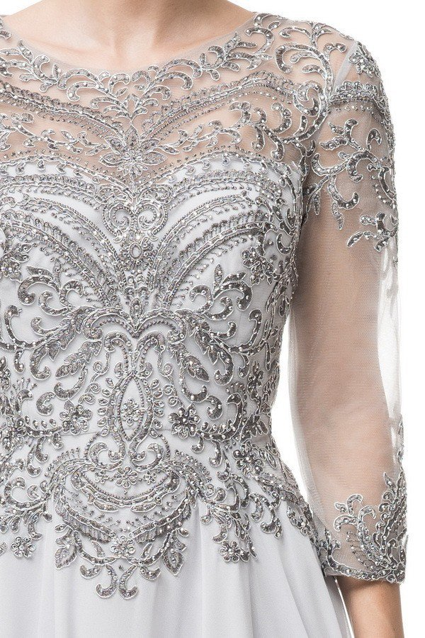 9e82d06f6d ... A- line Silver embroidered 3 4 sleeves mother of the bride dress or  groom ...