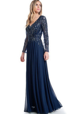 Long Sleeves Navy Mother of the Groom Dress