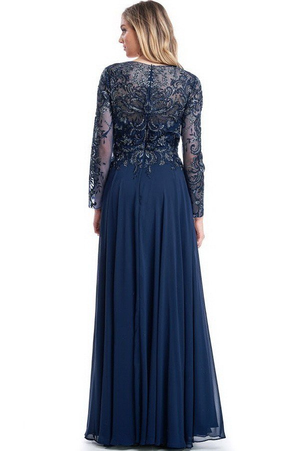 Navy Mother of the Bride dress long sleeves chiffon A-line evening Gown