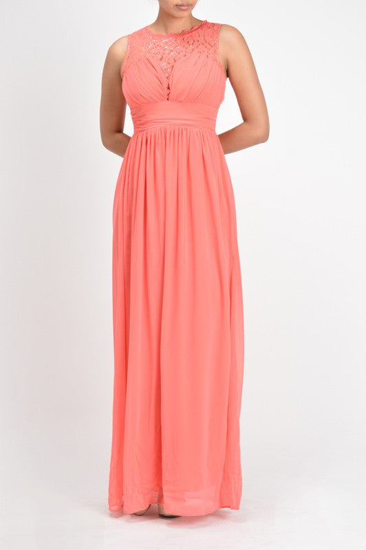 Affordable chiffon long bridesmaid dress coral pink and for Frugal fannies wedding dresses