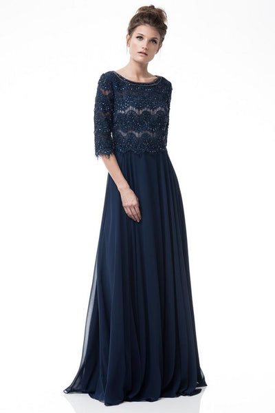 Scalloped lace Navy scoop neck 3/4 sleeves long chiffon mother of the bride gown