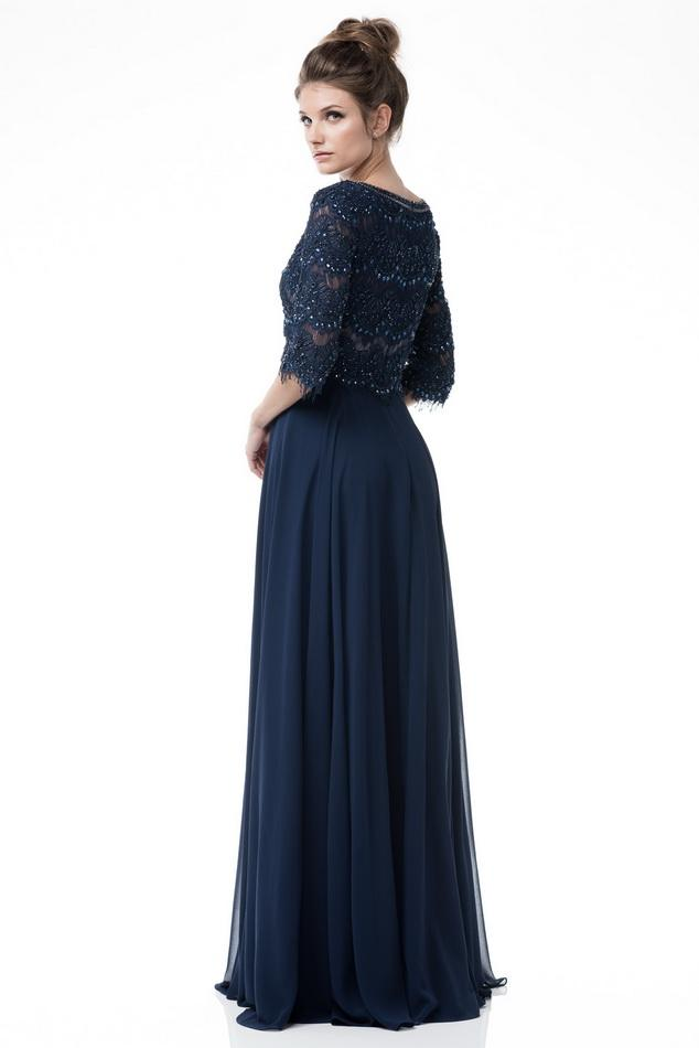 d5f9d77f0168e ... Scalloped lace Navy scoop neck 3 4 sleeves long chiffon mother of the bride  gown ...