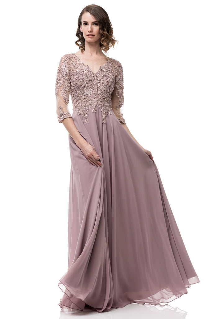 Floor Length Fantasy A,Line Chiffon Lace Mauve Mother of the Bride Groom  Dress upto 4XL