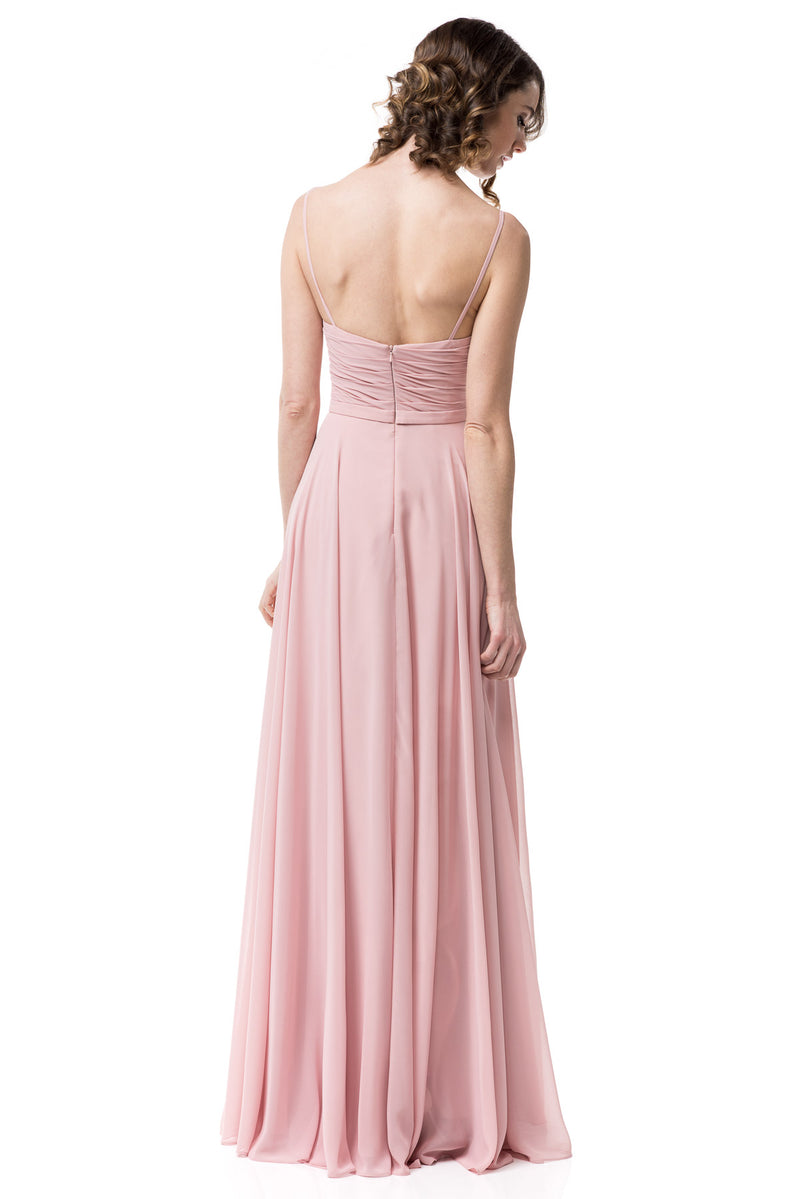 Unique Floor Length chiffon Light Gray and Blush Long Evening Bridesmaid Dress