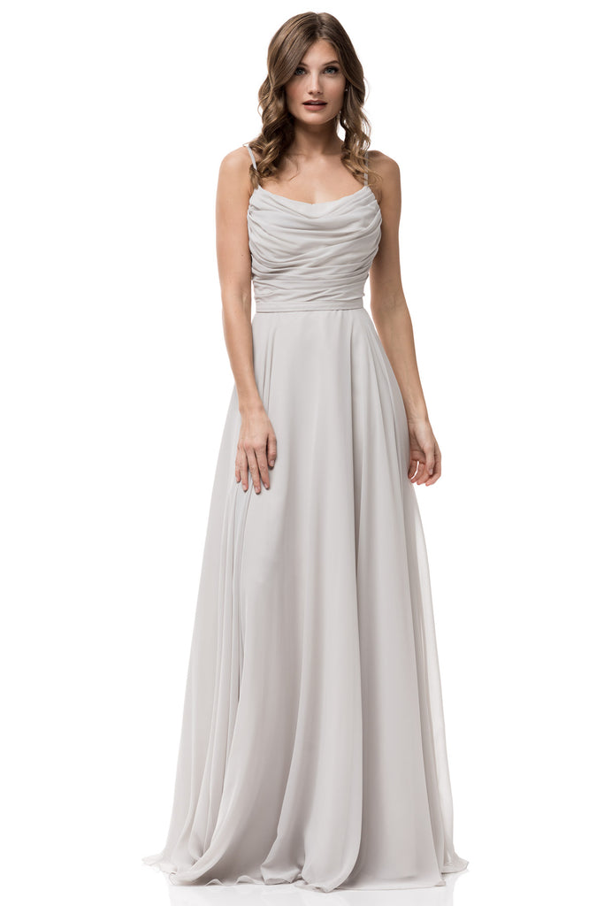 Unique floor length chiffon light gray and blush long evening long light gray bridesmaid dress junglespirit Choice Image