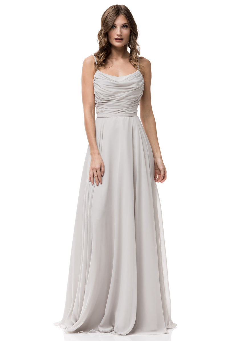 long light gray bridesmaid dress