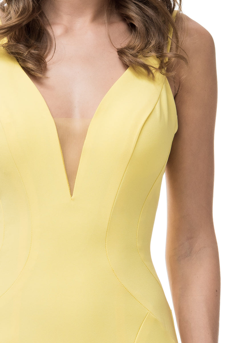 Sunny Side Simple Mermaid Yellow Prom Bridesmaids Dress