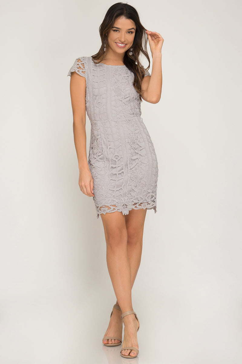 Grey wedding guest dress
