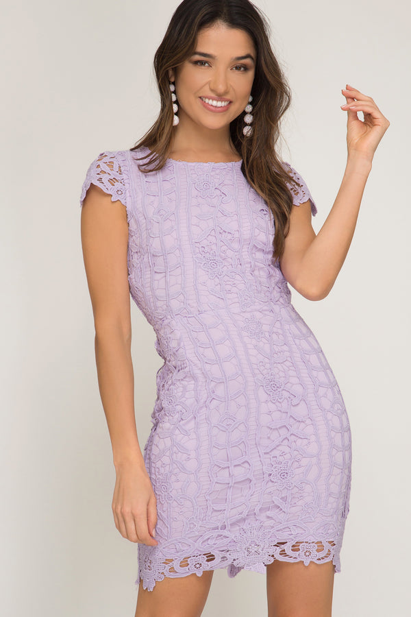 Lilac lace bridesmaid dress