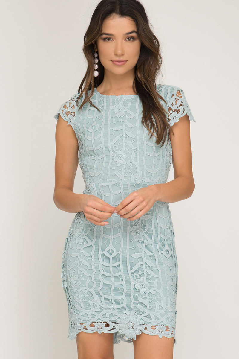 Seafoam lace cocktail dress