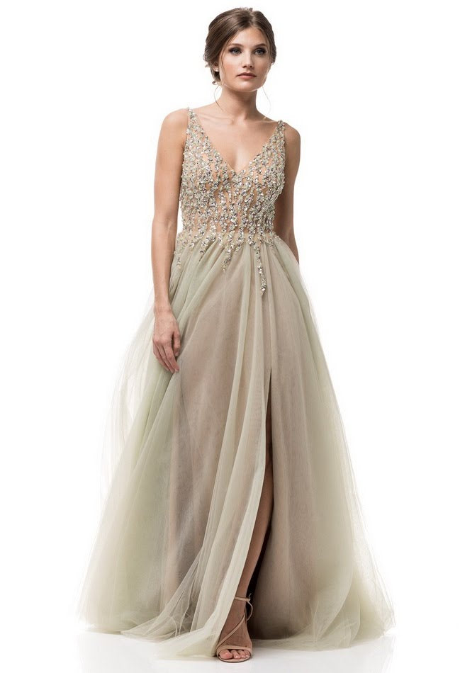 Tinker Bell Mint and Champagne Long Tulle Formal Evening Prom Gown ...