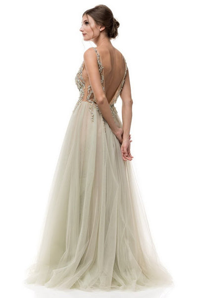 Tinker Bell Mint and Champagne Long Tulle Formal Evening Prom Gown