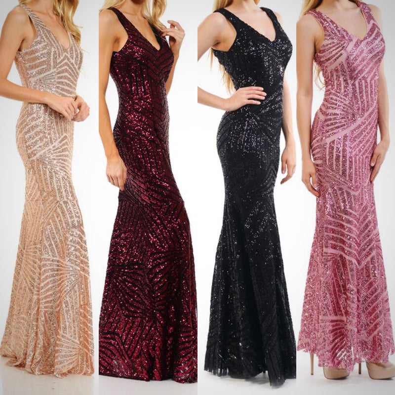 Floor length Affordable Cleopatra Gold Sequin Mermaid Bridesmaid Dress in 5 colors S - 4XL
