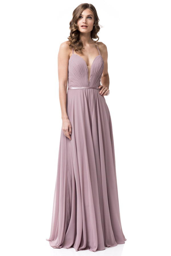 Mauve long chiffon bridesmaid Dress