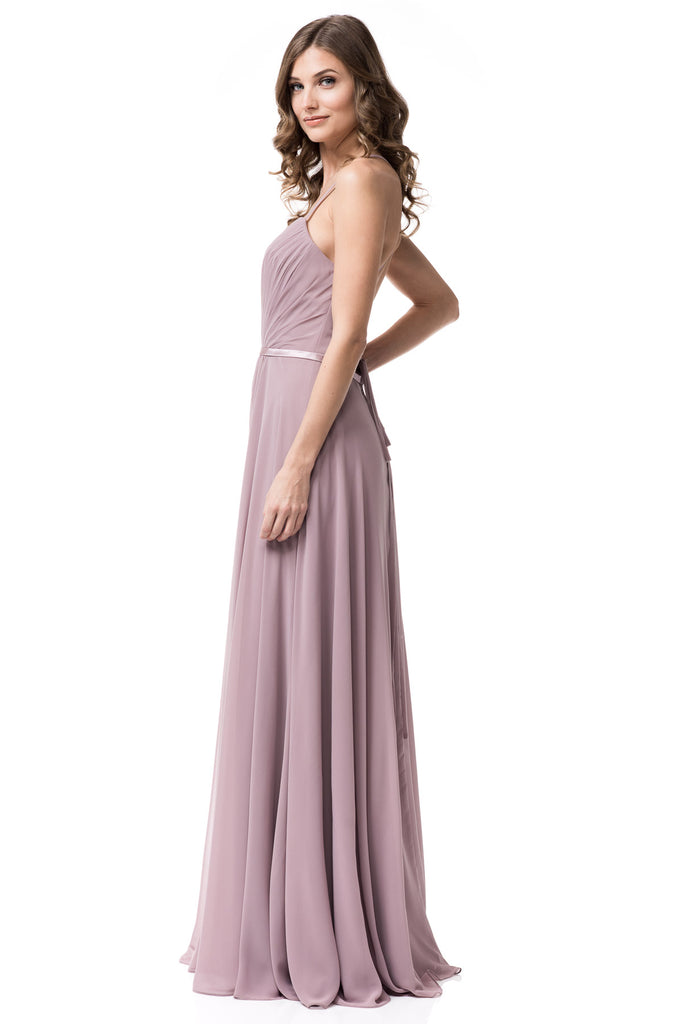 5ca05b4054e6b ... Floor length Mauve and Plum Chiffon Sleeveless Bridesmaid Dress ...