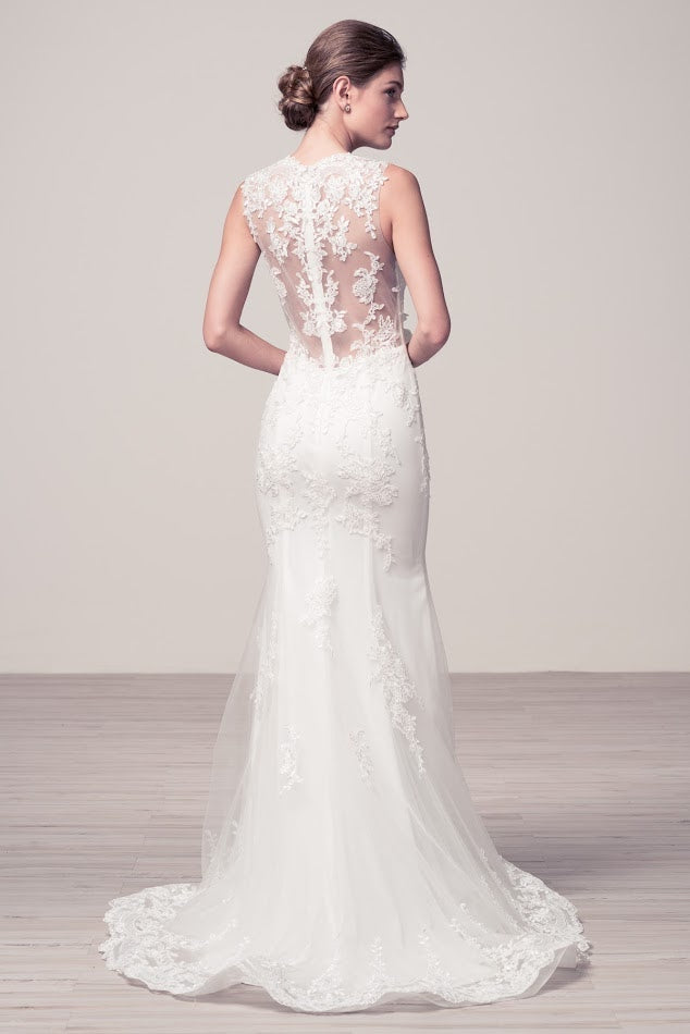 Affordable Mermaid Off white long Wedding dress with lace appliqué ...